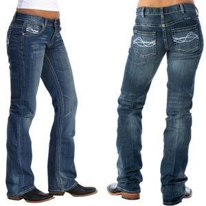 Cowgirl Tuff Dont Fence me in Bootcut Jeans 26 xl